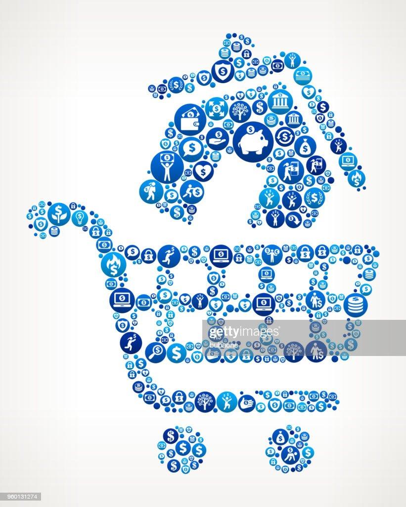 Haus Einkaufen Geld blaues Symbol Muster Hintergrund : Stock-Illustration