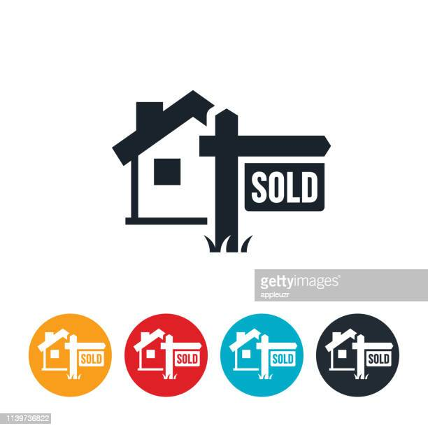 house sold icon - selling stock illustrations