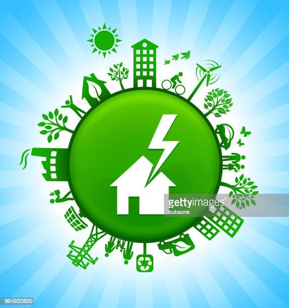house struck by lightning environment green button background on blue sky - green car crash stock illustrations