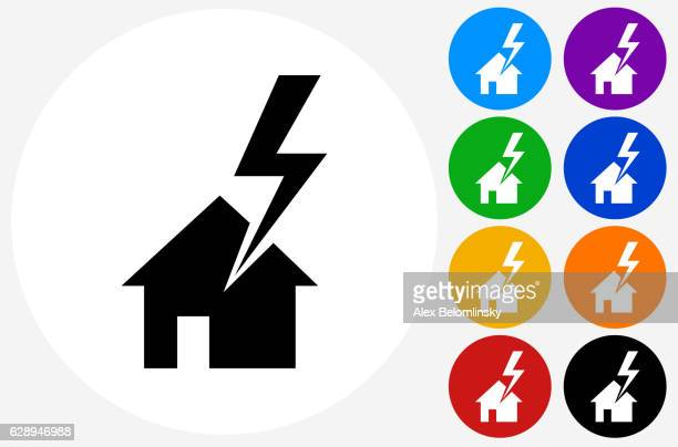 House Struck by Lightning Icon on Flat Color Circle Buttons