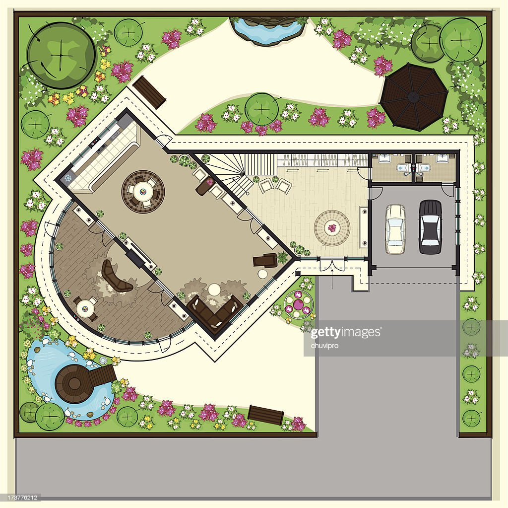 House top plan with a beautiful garden : stock illustration