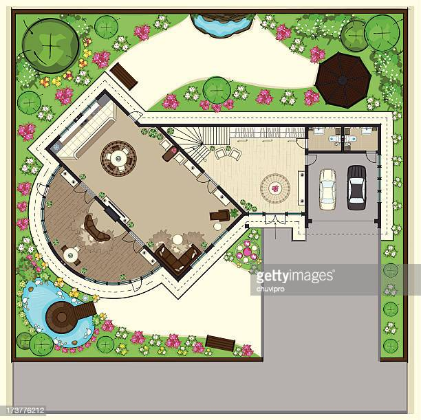 house top plan with a beautiful garden - vegetable garden stock illustrations, clip art, cartoons, & icons