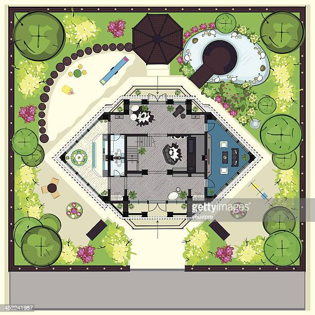 house top plan with a furnishing and big ganden - garden drawing stock illustrations
