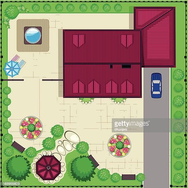 House top plan with a garden