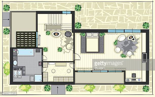 house top plan with furnitures. second floor - architectural feature stock illustrations, clip art, cartoons, & icons
