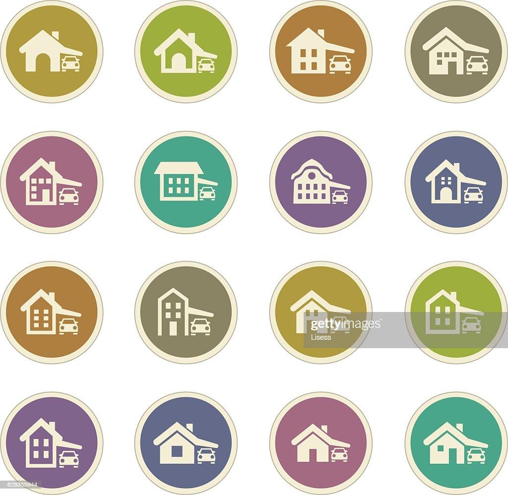 house type icons set