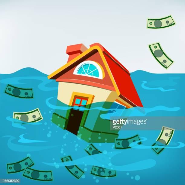 house underwater - subprime loan crisis stock illustrations