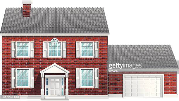 house - brick house stock illustrations