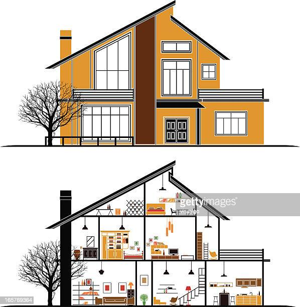 house - cross section stock illustrations