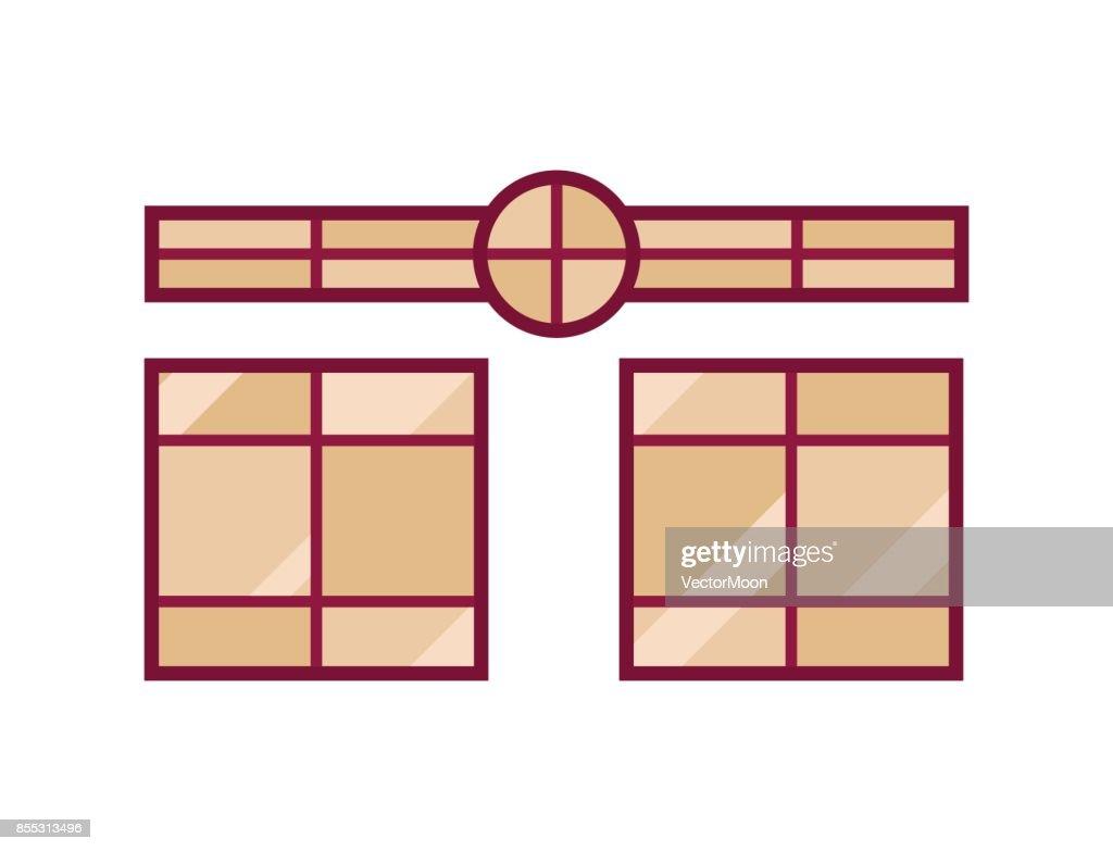 House Windows Elements Flat Style Glass Frames Construction Decoration Apartment Vector Ilration