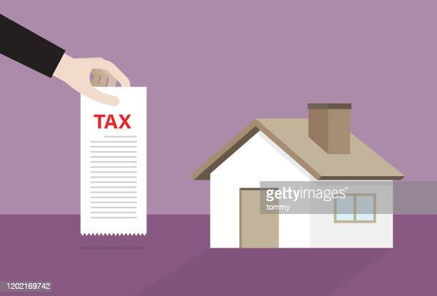 house with a tax bill - commercial real estate stock illustrations