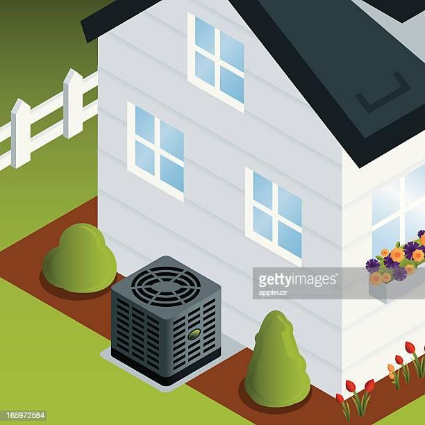 ilustraciones, imágenes clip art, dibujos animados e iconos de stock de casa con aire acondicionado - aparato de aire acondicionado