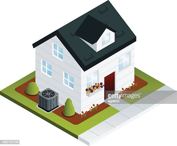 house with air conditioner - house exterior stock illustrations, clip art, cartoons, & icons