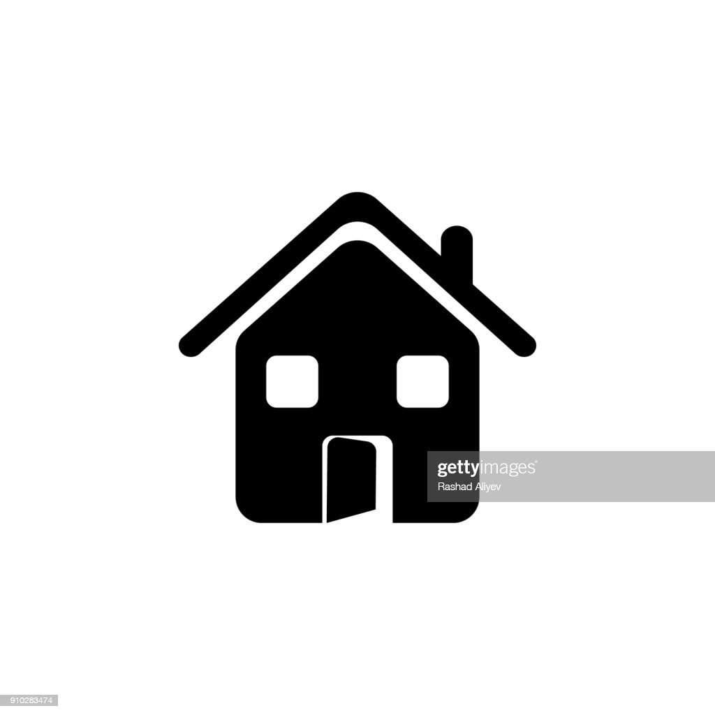 house with an open door icon. Elements of real estate transactions icon for concept and web apps. Illustration  icon for website design and development, app development