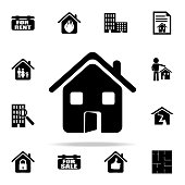 house with an open door icon. Real estate icons universal set for web and mobile