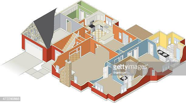 house with cutaway - cutaway drawing stock illustrations