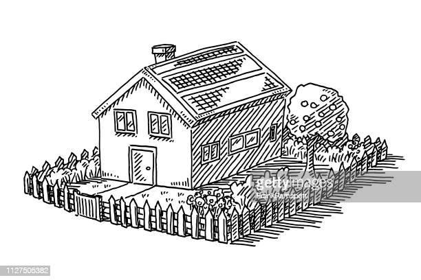 Haus mit Garten Zaun Eigenschaft Zeichnung