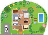 House with garden layout, vector