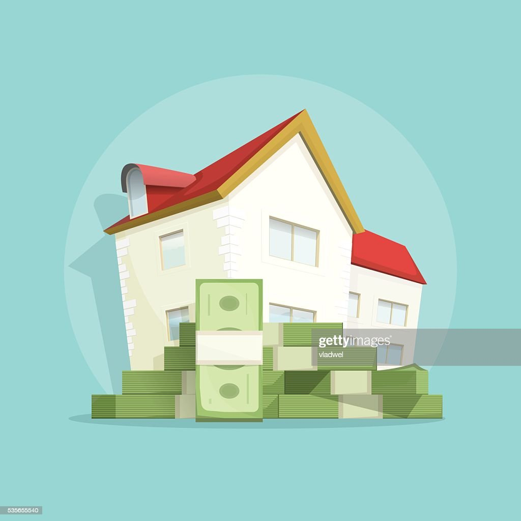 House with pile money, home expense symbol, concept mortgage loan