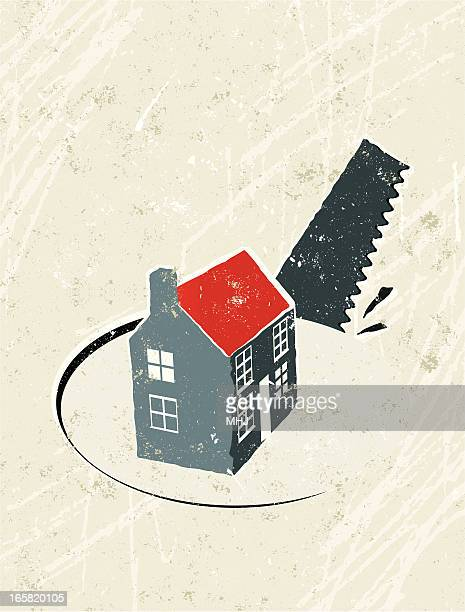 house with saw and hole - subprime loan crisis stock illustrations