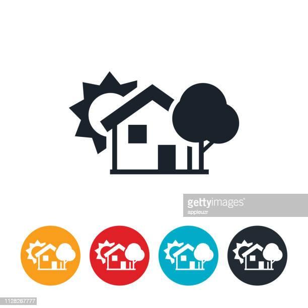 stockillustraties, clipart, cartoons en iconen met huis met shade tree pictogram - schaduwe