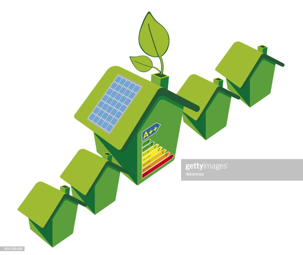 House with solar panel on a roof and sun