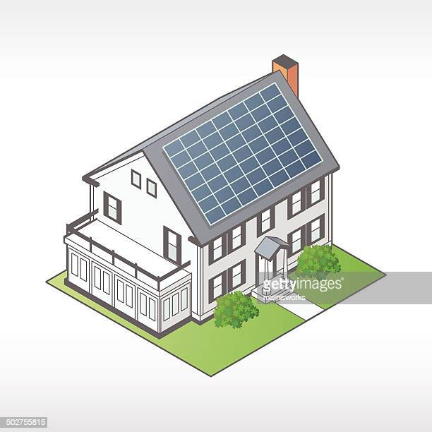 house with solar panels illustration - solar power station stock illustrations, clip art, cartoons, & icons