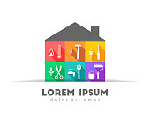 House with tools in colorful flat design