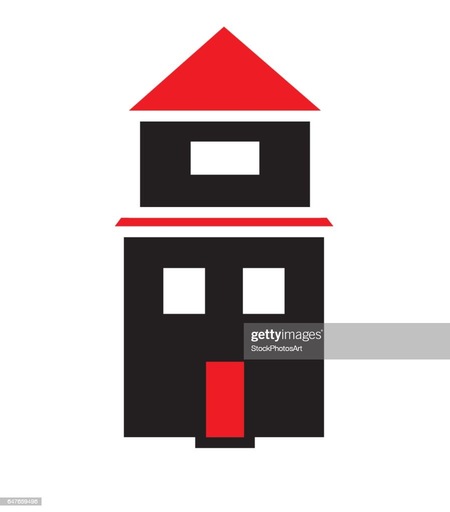 House with two floors and red roof and door icon vector isolated in white background.