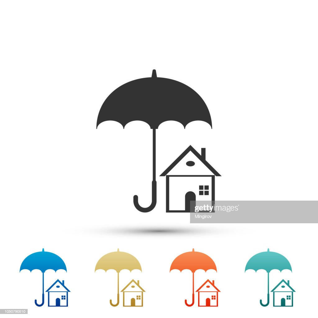 House with umbrella icon isolated on white background. Real estate insurance symbol. Real estate symbol. Set elements in colored icons. Flat design. Vector Illustration