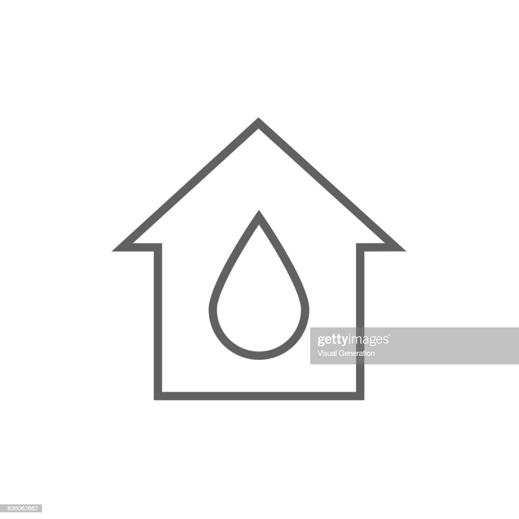House with water drop line icon vector art getty images house with water drop line icon biocorpaavc