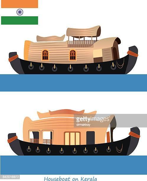 houseboat kerala - kerala stock illustrations
