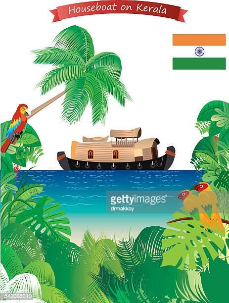 houseboat on kerala - kerala stock illustrations