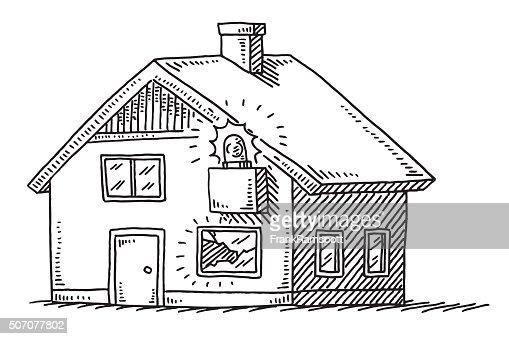 Housebreaking Burglar Alarm System Drawing Vector Art