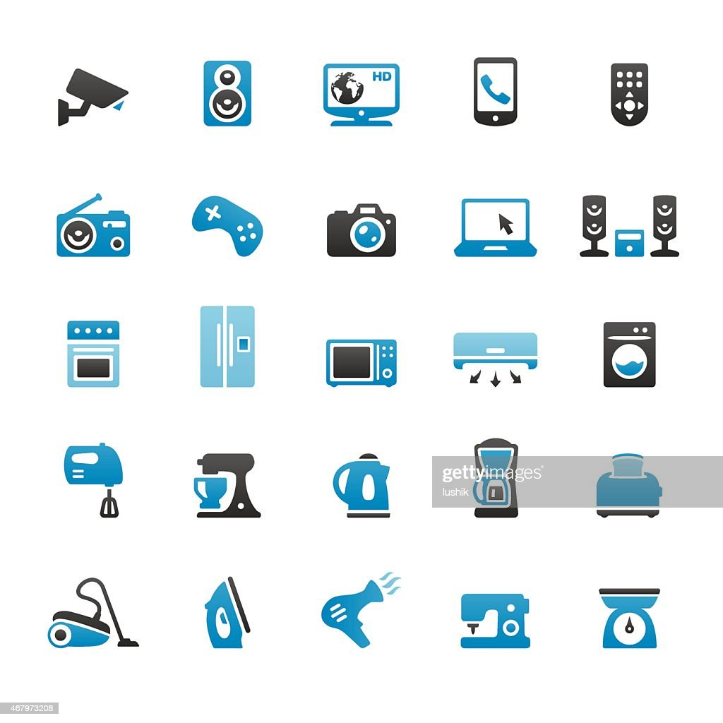 Household Appliance and Equipment vector icons : stock illustration