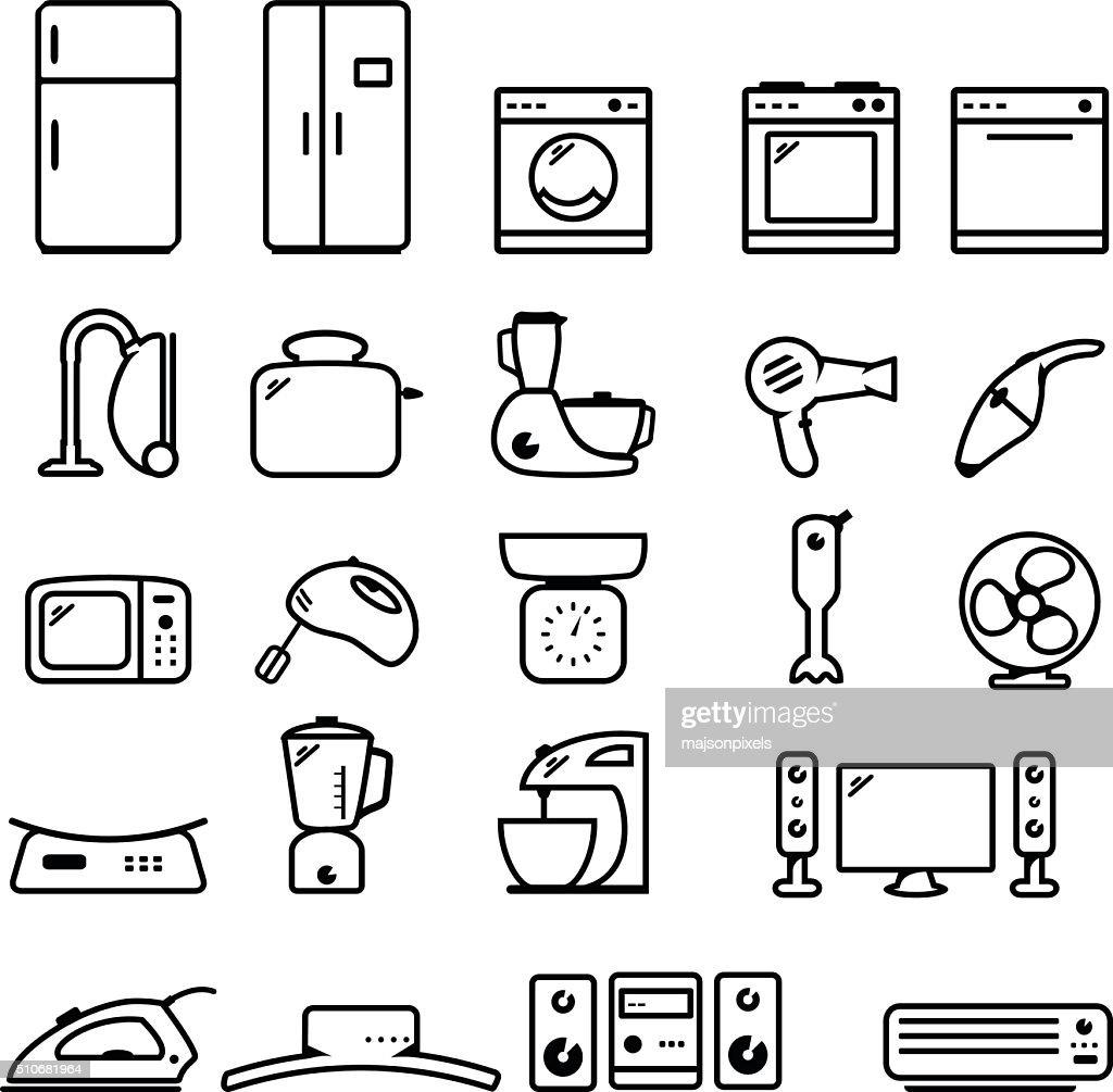 Household appliance icon set