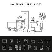 Household appliance line illustration.