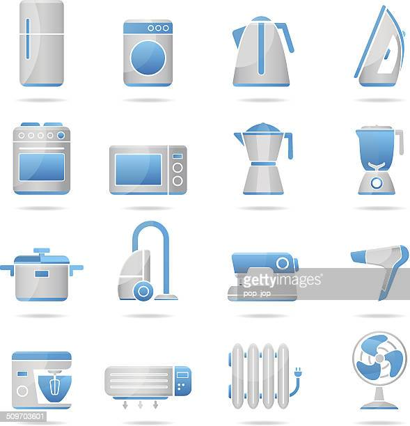 household appliances - blue-gray icons - radiator heater stock illustrations, clip art, cartoons, & icons