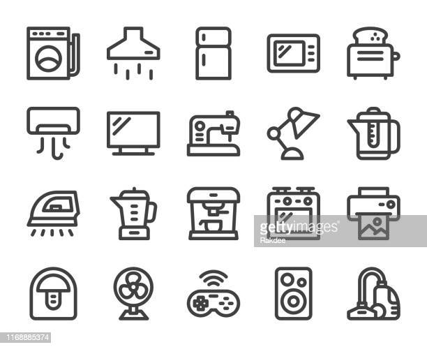 household appliances - bold line icons - exhaust fan stock illustrations, clip art, cartoons, & icons