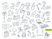 Household appliances doodle hand drawn big icons set.