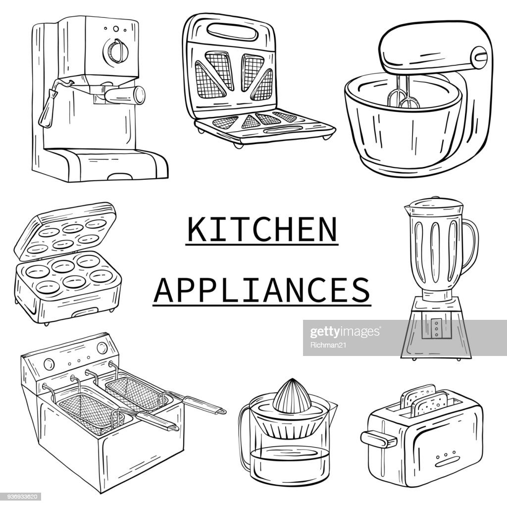 Household appliances for the kitchen, cafe and restaurant. Vector illustration in hand drawn graphics