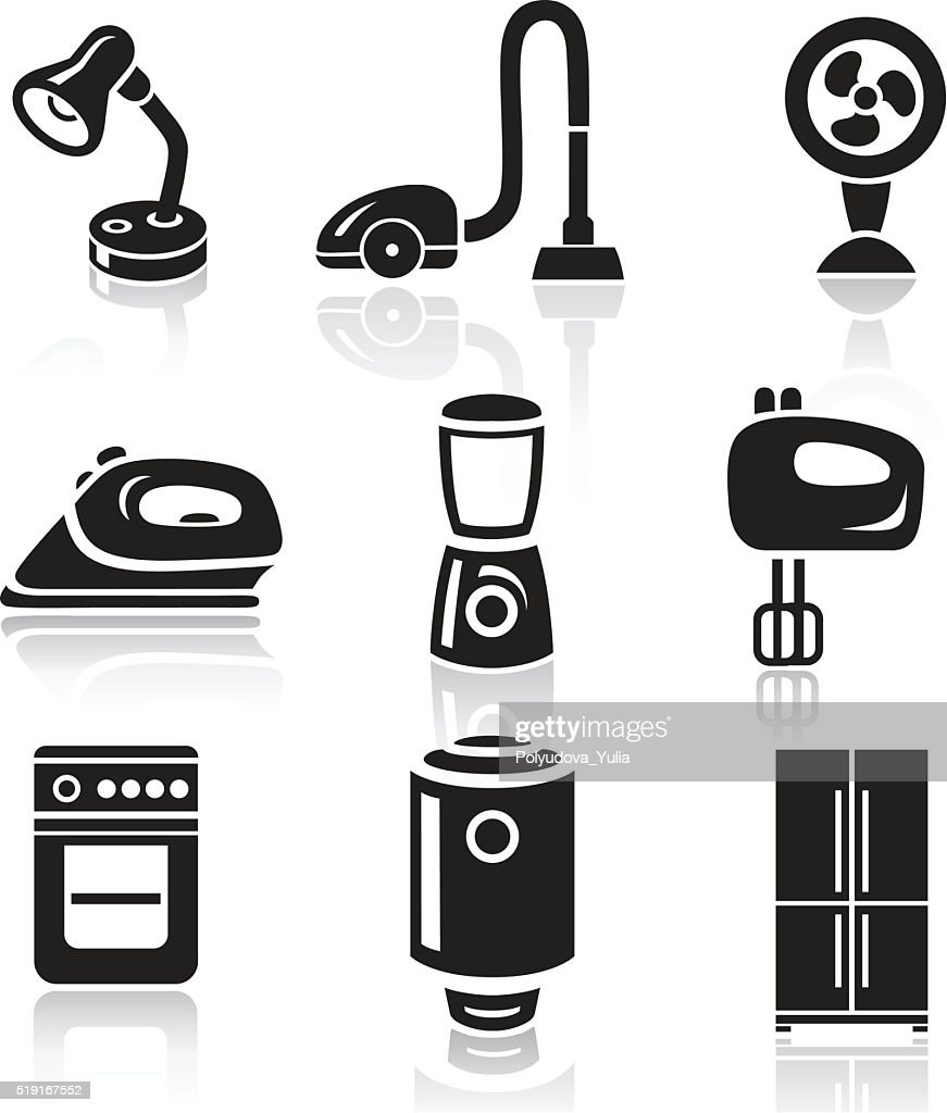 Household appliances icon set. Black sign on white background