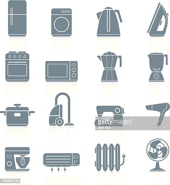 household appliances - icons - iron appliance stock illustrations, clip art, cartoons, & icons