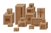 Household appliances in boxes.