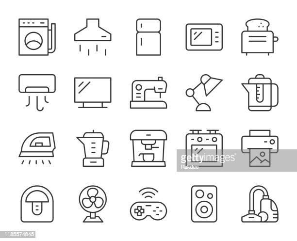 ilustrações, clipart, desenhos animados e ícones de eletrodomésticos - ícones da linha de luz - exhaust fan