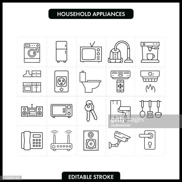 illustrazioni stock, clip art, cartoni animati e icone di tendenza di set di icone della linea elettrodomestici. tratto modificabile - macchinario