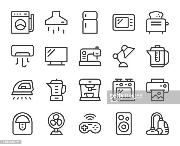 household appliances - line icons - exhaust fan stock illustrations, clip art, cartoons, & icons