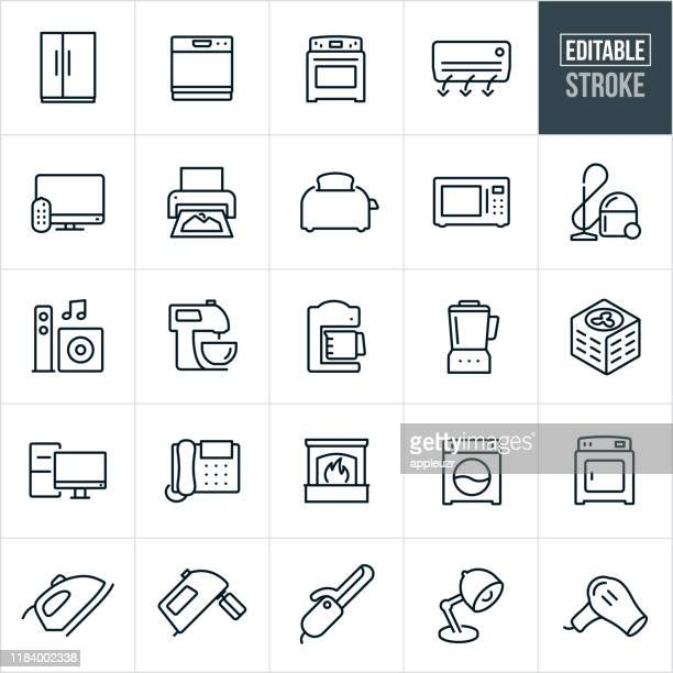household appliances thin line icons - editable stroke - appliance stock illustrations