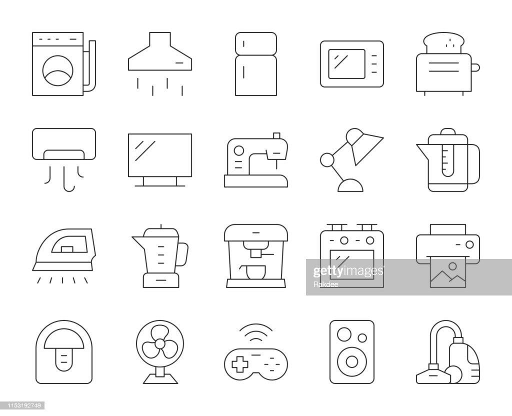 Household Appliances - Thin Line Icons : stock illustration