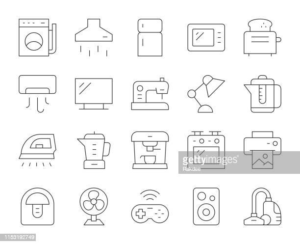 household appliances - thin line icons - exhaust fan stock illustrations, clip art, cartoons, & icons
